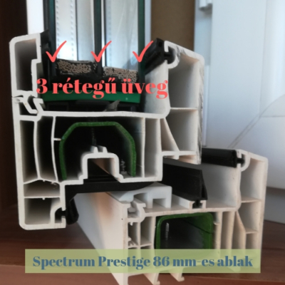 Spectrum Prestige 86 mm műanyag ablak 3 réteg üveg